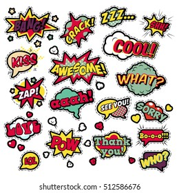 Fashion Badges, Patches, Stickers in Pop Art Comic Speech Bubbles Set with Halftone Dotted Cool Shapes Expressions Bang Zap Lol. Vector Retro Background