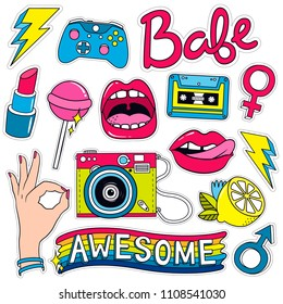 Fashion Badges, Patches, Stickers set  in Pop Art Comic Style. Vector illustration.