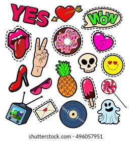 Fashion Badges, Patches, Stickers set with Girls Elements - Lips, Heart, Sweets, Speech Bubble and Ice Cream in Pop Art Comic Style. Vector illustration