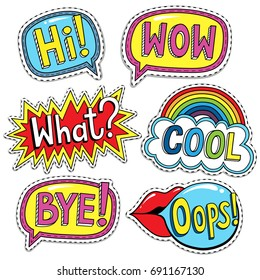 Fashion Badges, Patches, Stickers set with words HI, WOW, WHAT, COOL, OOPS, BYE in Pop Art Comic Style. Vector illustration.