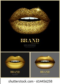 Fashion banner with golden glossy glitter lips.