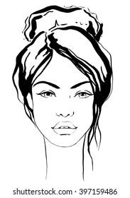 Fashion beautiful girl with bun