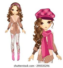 Fashion beautiful girl in cap and coat