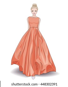 Fashion beautiful illustration of blond woman with evening hairstyle in stylish green long princess's gown,vector