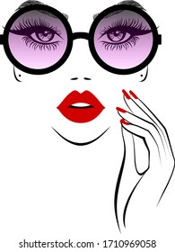 Fashion beautiful woman face in stylish sunglasses, hand with manicure nails, studio. Beauty logo. Vector illustration.