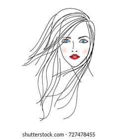 Fashion beautiful woman with long hairstyle. Line art. Vector