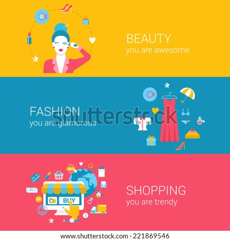 Fashion beauty glamour shopping concept flat icons banners template set  makeup glamorous young woman clothing online b4d520b524