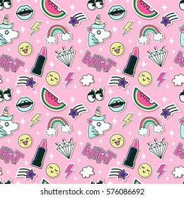 Fashion and beauty pattern with cute patches, stickers. Vector trendy illustration.
