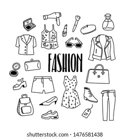 Fashion, beauty and style related hand drawn doodle illustration with biker jacket, dress, shoes, bag, cosmetics, trousers, boots, shirt, hairdryer.
