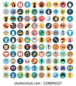 fashion and beauty vector colorful flat style icons set