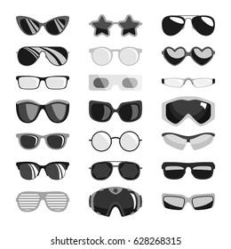 Fashion black sunglasses set accessory sun spectacles plastic frame modern eyeglasses vector illustration. Sun protection human face organs tools