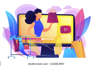 Fashion blogger review video fashionable purchase and clothes hanger. Fashion blog, shopping blogging, fashion blogger job concept. Bright vibrant violet vector isolated illustration