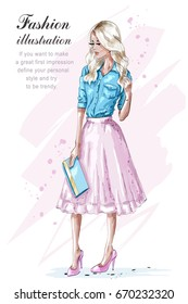 Fashion blonde girl in pink skirt, holding handbag. Hand drawn fashion woman. Sketch. Vector illustration.
