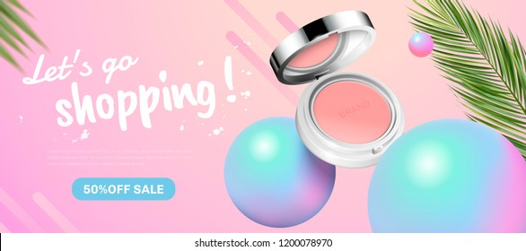 Fashion blush banner ads with holographic spheres elements in 3d illustration