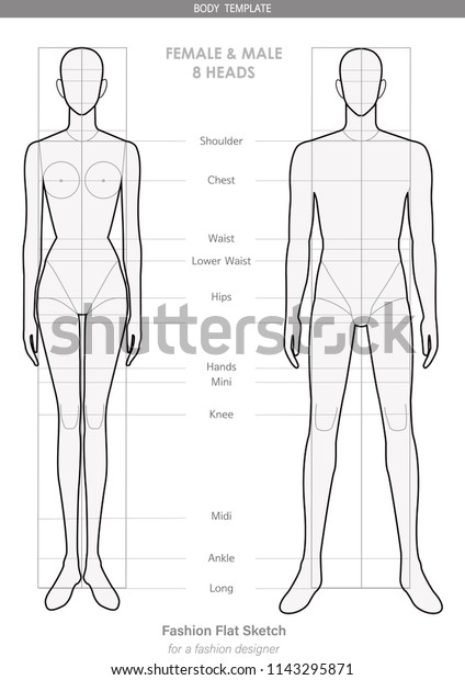 Fashion Body Template Female Male 8 Stock Vector Royalty Free 1143295871