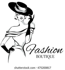 Fashion boutique background with black and white woman silhouette. Hand drawn vector illustration
