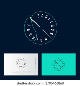 Fashion boutique logo. Clothes shop logo. Fashion studio emblem. Atelier emblems. Letters and a needle with a thread and letters in circle. Business cards.