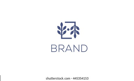 Fashion brand vector logo template.  Wedding logo. Premade logo design. Florist logotype. Brand identity. Rustic whimsical logo. Simple logo.