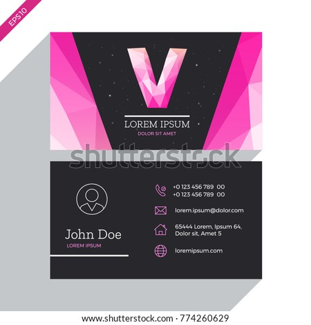 Fashion business card template design vector stock vector royalty fashion business card template design vector concept with logo letter v outline icons and fbccfo Image collections