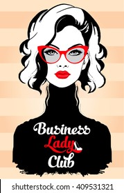Fashion Business Woman in glasses and red lips