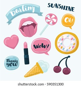 Fashion cartoon funny patch badges with mouth, heart, speech bubbles, cherries, donut and other elements. Vector illustration isolated on white background. Set of stickers, patches.
