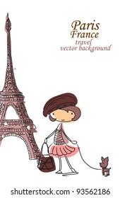 Fashion Cartoon Girl travels the world, vector background