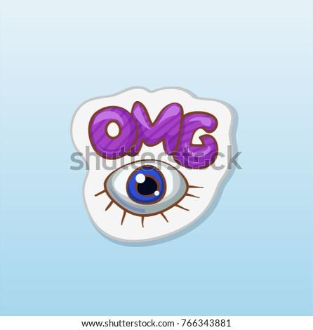 Fashion Cartoon Sticker Title Omg Big Stock Vector Royalty Free