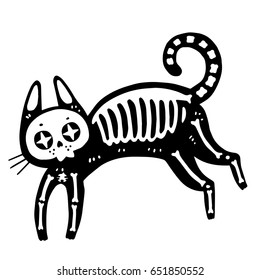 Fashion cat vector illustration isolated on white background. For stickers, pins, patches.