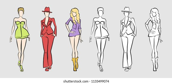 Fashion Catwalk Models. Vector illustration of 3 posing female models in hand-drawing / sketchy style.