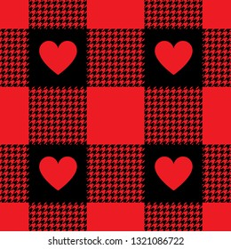 Fashion check plaid pattern with hearts. Hounds tooth texture. Seamless tile for textile graphics. Buffalo babric plaid for Valentine's Day.