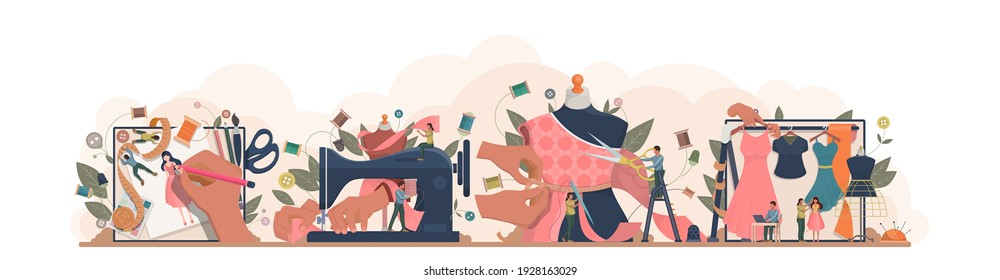 Fashion or clothes designer concept. Tiny tailor masters sewing clothes and working with a mannequin. Designing new collection in sewing studio. Dressmaker working on sewing machine. Vector.