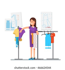Fashion clothes designer working on dress project trying different fabric to create a new style with sewing patterns in background. Master tailor. Modern flat style vector isolated illustration.