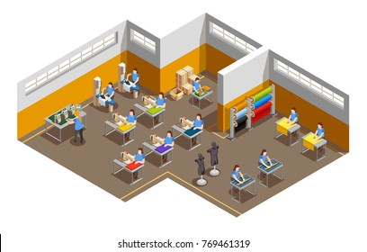 Fashion clothes manufacturer apparel factory interior isometric view with designing cutting sewing ironing and packing vector illustration