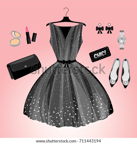 Fashion Clothes Set Clothes Accessories Evening Stock Vector