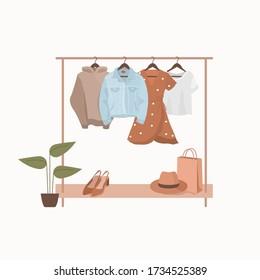 Fashion clothes for summer. Wardrobe. Closet. Vector