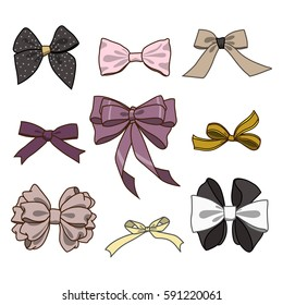 Fashion collection of bows. Vector colorful illustration in rustic style.