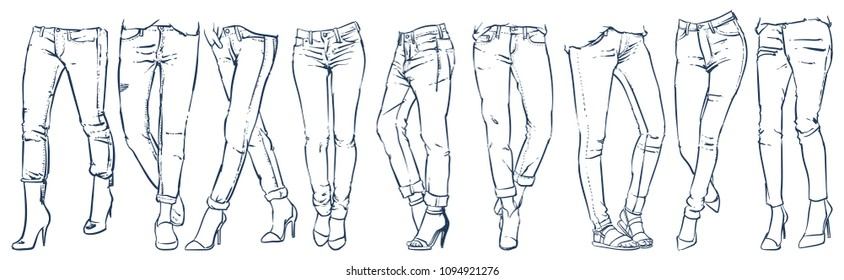 Fashion Collection of girl's jeans, Denim clothes, Vector illustration