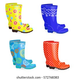 fashion collection of rubber boots different colors and patterns