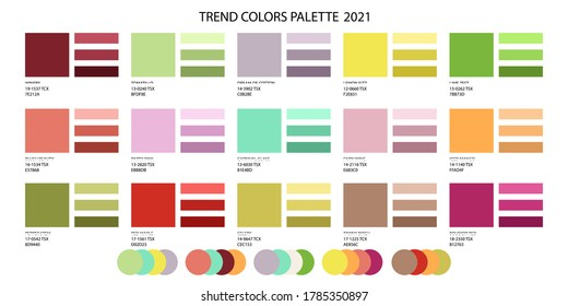 Fashion color trend 2020 2021 and a set of colors combined. Color palette forecast of the future colors - Shutterstock ID 1785350897