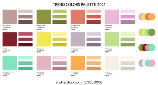 Fashion color trend 2020 2021 and a set of colors combined. Color palette forecast of the future colors