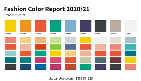 Fashion Color trend 2020-2021. An example of a color palette. Forecast of the future color trend.