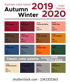 Fashion color trend Autumn Winter 2019-2020. Palette fashion colors guide with named color swatches.