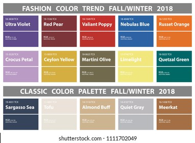Fashion color trend Fall Winter 2018 and classic color palette. Colors of the Year, Palette fashion colors with name