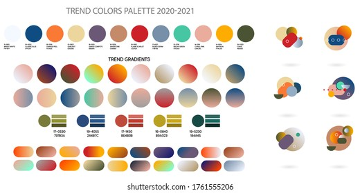Fashion color trend Spring and Summer 2020 2021. Color palette forecast of the future color trend. Stock vector palette of shades
