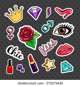 Fashion colorful stickers collection on black background. Rose and eye, lipstick and nail polish badges or vector pins