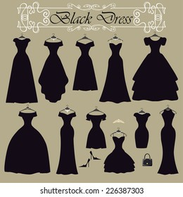 Fashion composition.Black party dress in Different styles .Silhouette of dresses  in modern flat vector style.Set with handbag,high heel shoes,swirling frame.Vintage,retro Illustration,background