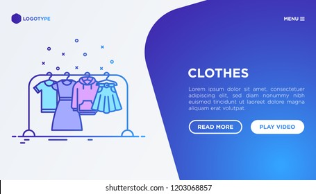 Fashion concept: clothing on the clothes rack with thin line icons: dress, skirt, hoodie, t-shirt. Modern vector illustration, web page template on gradient background.