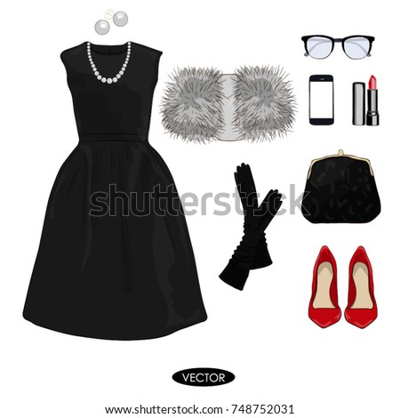 Fashion Concept Stylish Trendy Evening Outfit Stock Vector Royalty