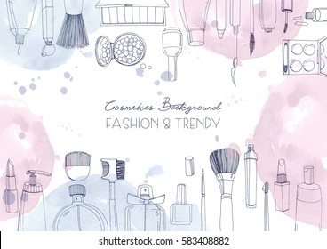 Fashion cosmetics horizontal background with make up artist objects and watercolor spots. Vector hand drawn illustration with place for text.