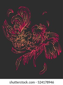 Fashion couple of broody girl and rooster boy hipsters, Valentine Day symbol. Colorful birds on dark background. From the strong passion the feathers fly away. It can be used for print poster or other
